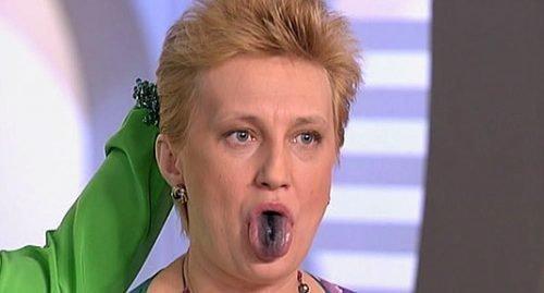 Черный язык у женщины