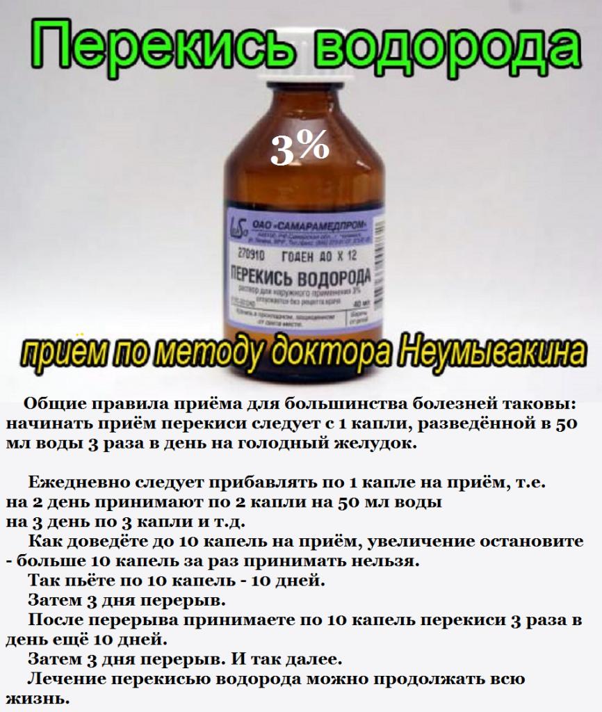 Как принимать перекись водорода